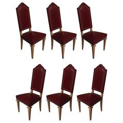 Six Dining Room Chairs Dark Red Leather Cerused Oak