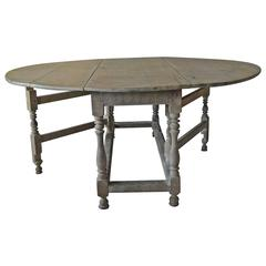 Large Antique Limed Oak Round or Oval Dining Table, English, 18th Century