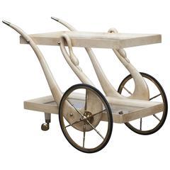 Aldo Tura Swan Legs Goatskin Bar Cart