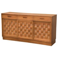 Edward Wormley Dunbar Woven Front Credenza Sideboard Cabinet