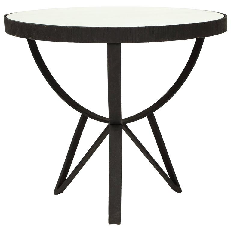 French Deco Wrought Iron Side Table Gueirdon Mirrored Top France, 1930, 1940s For Sale