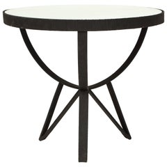 French Deco Wrought Iron Side Table Gueirdon Mirrored Top France, 1930, 1940s