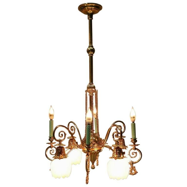 Antique Victorian Eight-Arm Electrified Combination Chandelier, Late 1800s 1 - Antique Victorian Eight-Arm Electrified Combination Chandelier