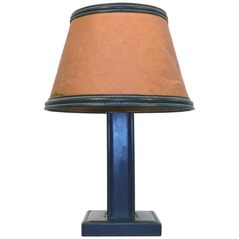 Jacques Adnet Leather Table Lamp, France, 1940