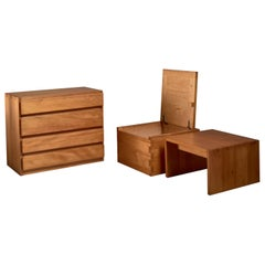 Campagne Style Pine Set of Three Pieces, France, 1960s