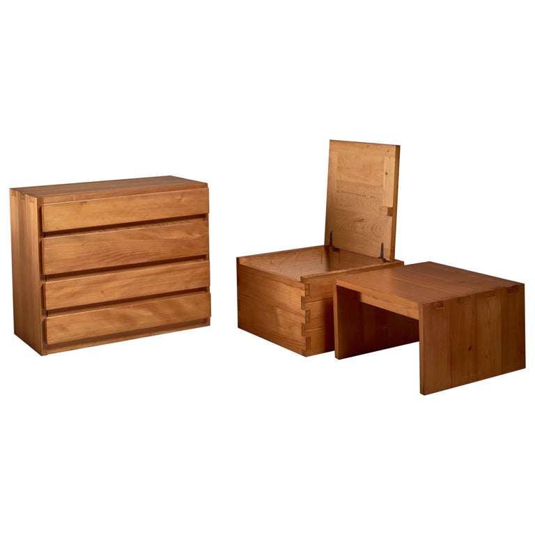 Campagne Style Pine Set of Three Pieces, France, 1960s For Sale