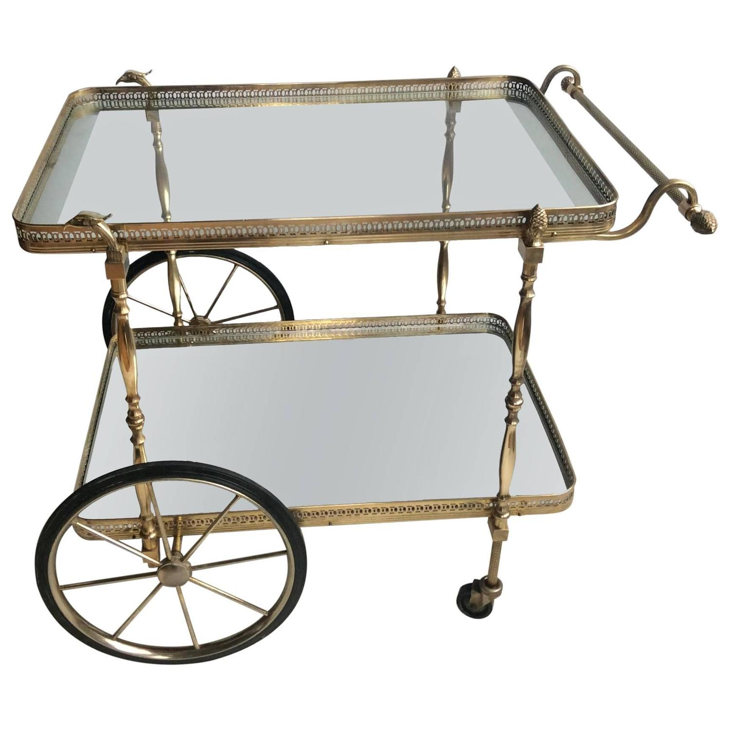 three tier mid century brass bar cart circa for sale at
