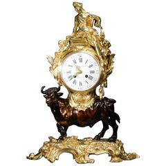 Antique French Bronze and Ormolu Clock, Europa and the Bull