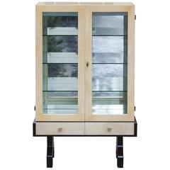 Aldo Tura Ivory Colored Goatskin Bar Cabinet