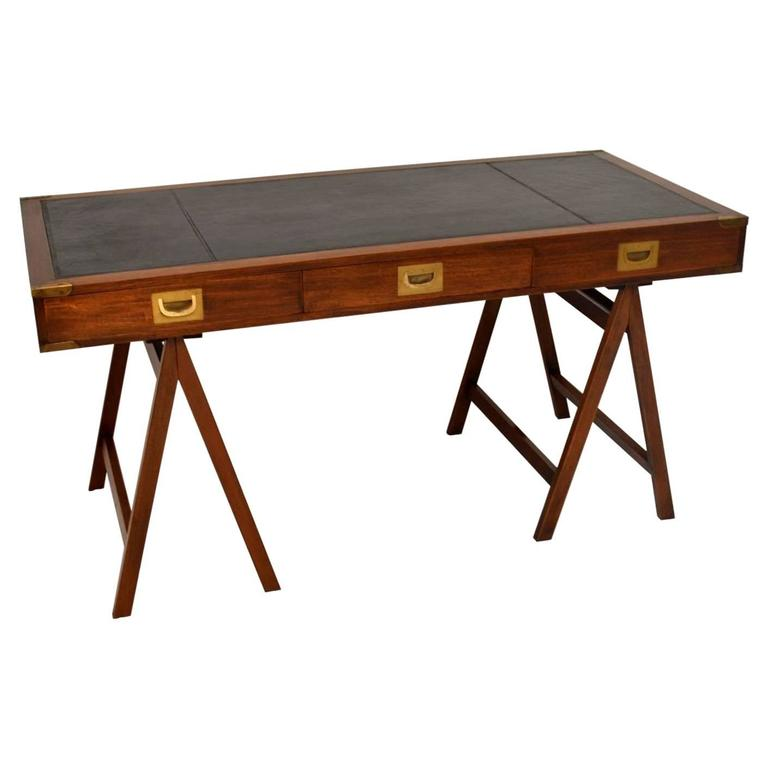 Genial Antique Campaign Style Mahogany Leather Top Desk