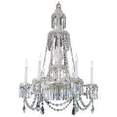 Good Quality Mid-Victorian Frosted Glass Six-Light Antique Chandelier