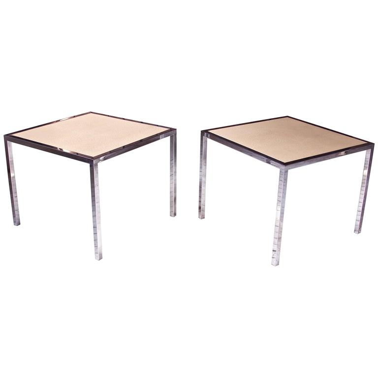 Pair of Vintage Italian Faux Ostrich Leather and Chrome Cocktail Tables, 1970s