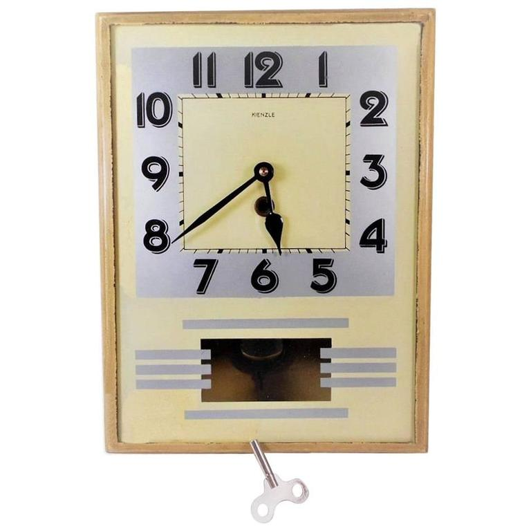 Original 1930s Art Deco Wall Clock By Kienzle For Sale