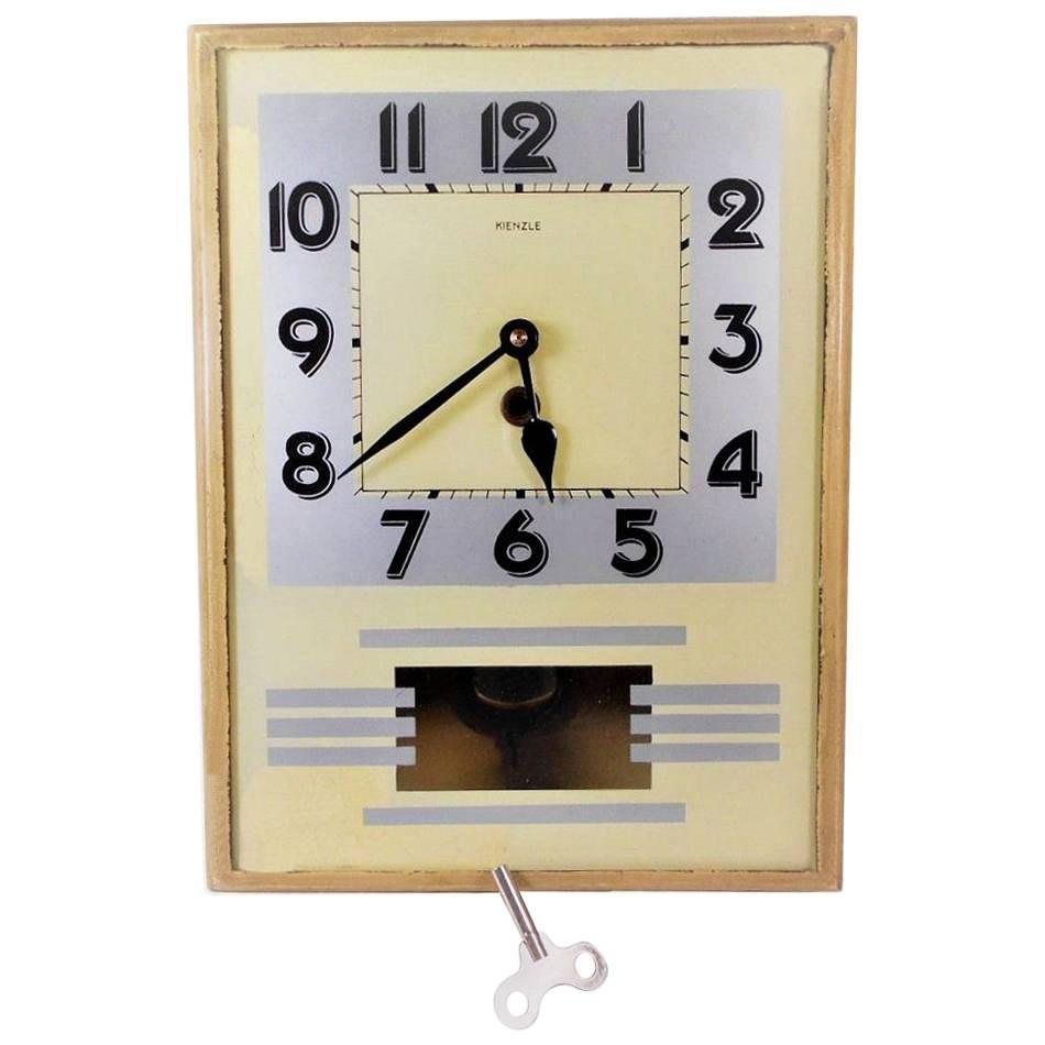 Original 1930s Art Deco Wall Clock by Kienzle