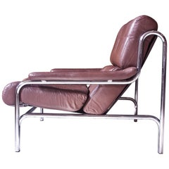 """Vintage Pieff & Co. """"Alpha"""" Two-Seat Sofa in Chrome and Brown Leather, 1970s"""