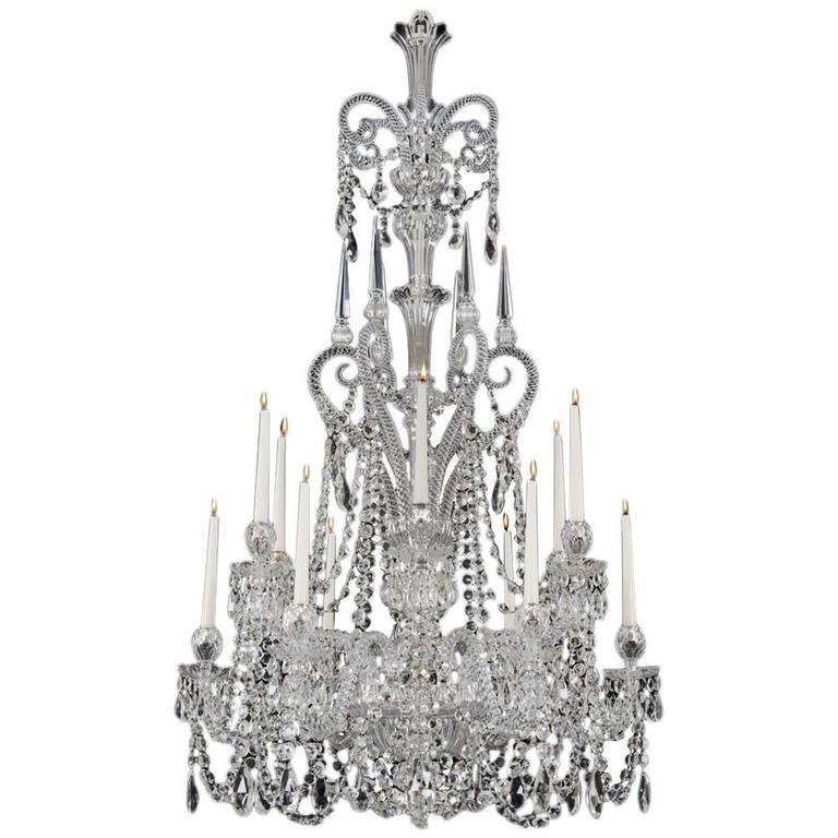 Fine Twelve-Light Cut-Glass Chandeliers by F&C Osler