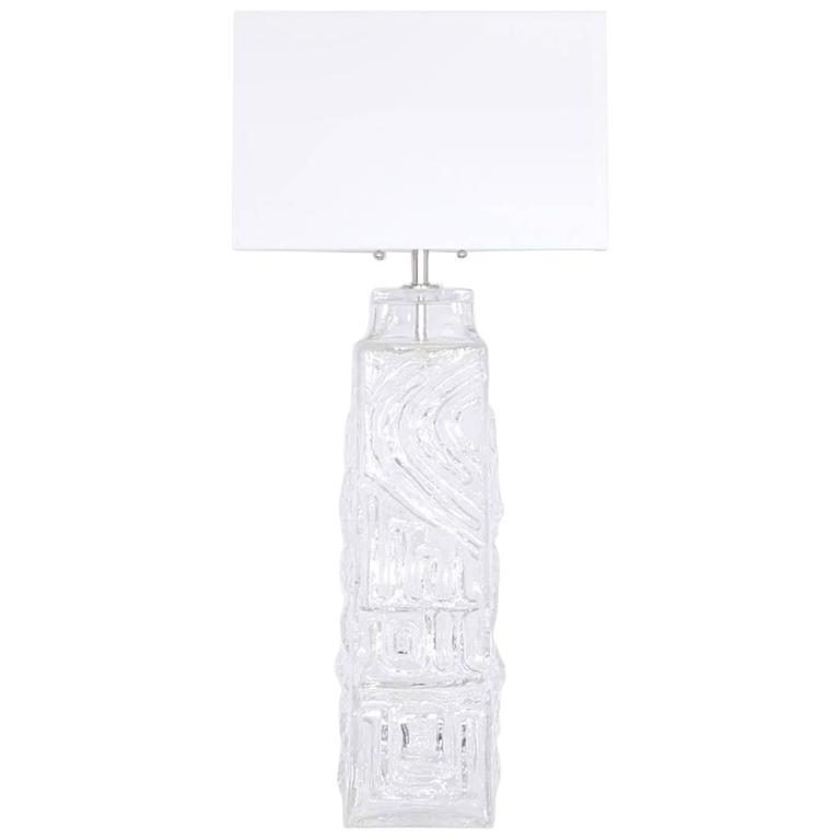 Monumental Pukeberg Swedish Sculptural Glass Lamp