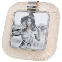 Venini 'Torciglione' Murano Glass Gold Flakes Photo Frame with Nickel Accent