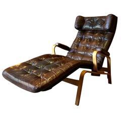 Sam Larsson Fenix Chair DUX Mid-Century Chaise Longue Leather, 1970s