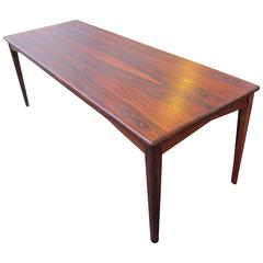Long Danish Mid Century Modern Sofa Table in Rosewood
