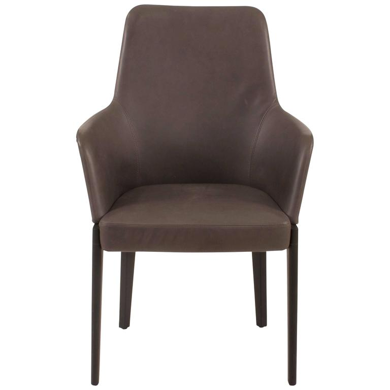 Grey Leather Chelsea High Back Dining Chair By Ron Gilad For - High back dining chairs