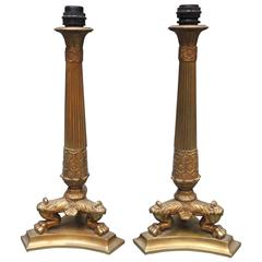 Pair of French Empire Style Cast Bronze Candlestick Lamps