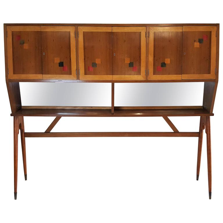 Mid-Century Walnut Case Piece or Headboard, style of Ico Parisi 1