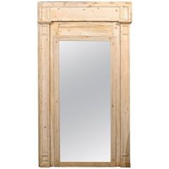 French 19th Century Trumeau Mirror with Natural Light Colored Wood Grain Finish