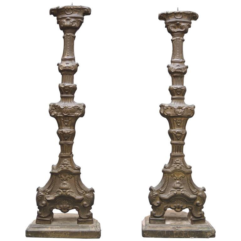 Pair of 18th Century  Italian Altar Candlesticks in Repousse Brass And Wood