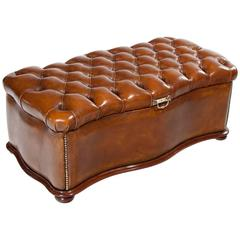 Excellent 19th Century Shaped Leather Ottoman