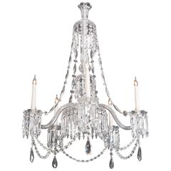 Good Mid-Victorian Cut and Moulded Glass Antique Chandelier by F&C Osler