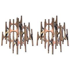 Pair of 1970s Lightolier Chandeliers Designed by Sciolari