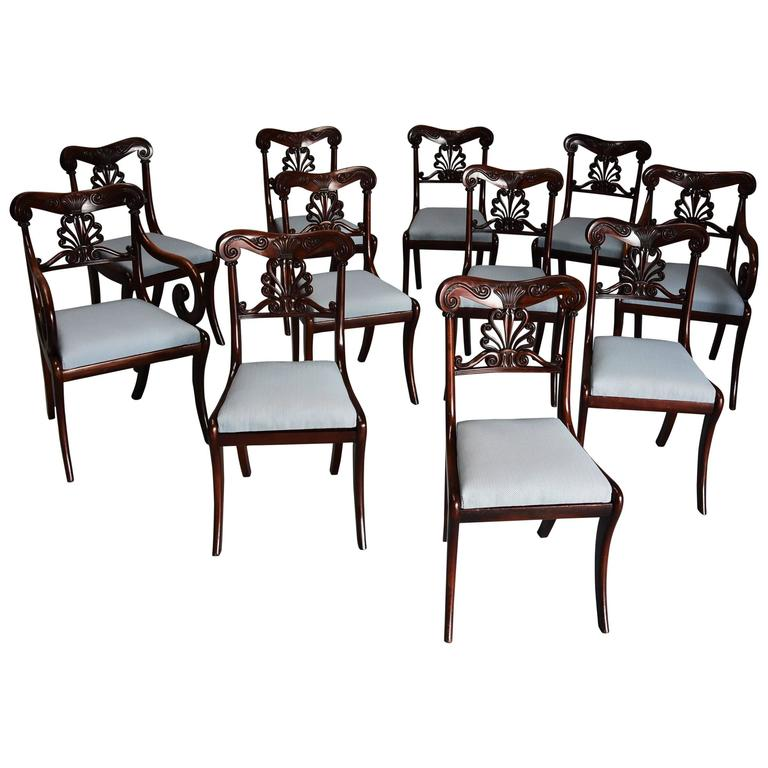 Exceptional Set of 12 Superb Quality Cuban Mahogany Regency Dining Chairs