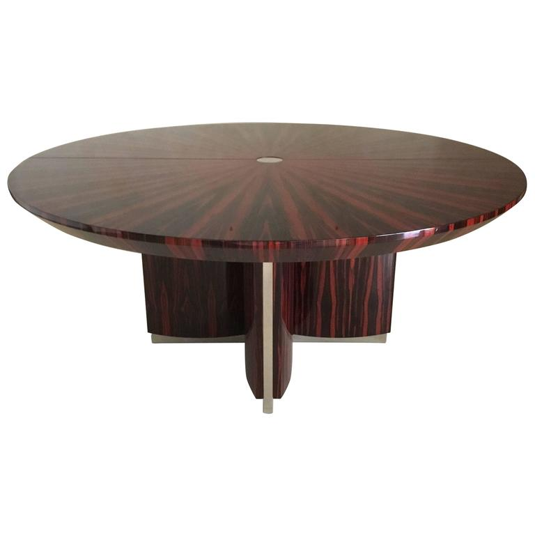 Custom Macassar Ebony Dining Table With Steel Insets 1