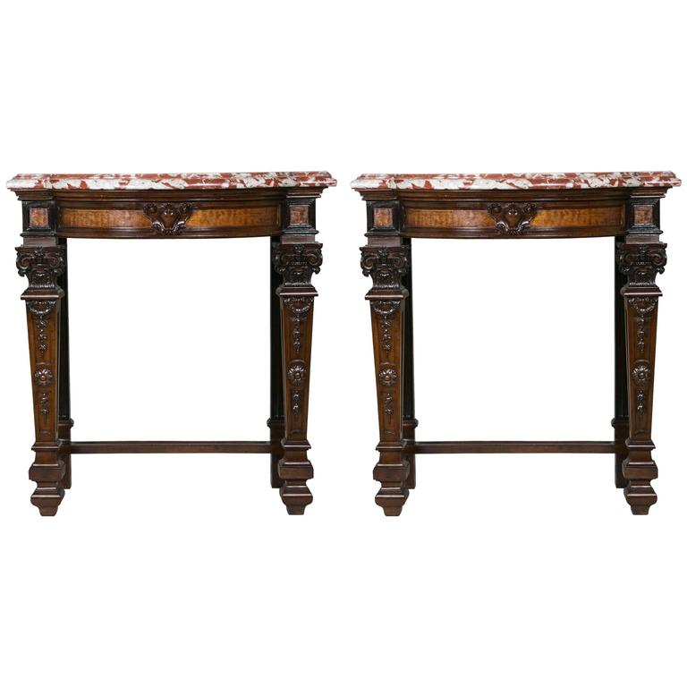 Beautiful Pair of Napoleon III Consoles
