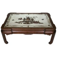 Coffee Table in Walnut with Églomisé Glass from the 20th Century 'Chinoiserie'
