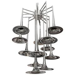 Chrome Trumpet Chandelier, Light Fixture