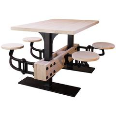 Industrial Cafeteria Swing Out Seat Kitchen Breakfast Dining Iron and Wood Table
