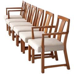 Six Edward Wormley Walnut Dining Chairs