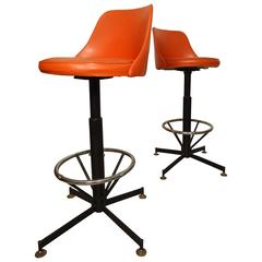Pair of Mid-Century Swivel Stools