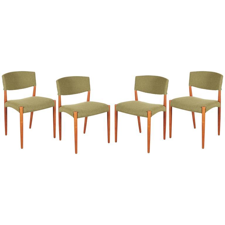 Teak Green Dining Chairs by Bender Madsen, Set of 4 1