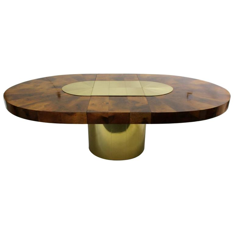 Brass and Wood Sunburst Paul Evans for Directional Large Oval Dining Table