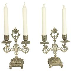 Pair of Silver Plated Renaissance Revival Two-Light Candelabra, Paris, 1860