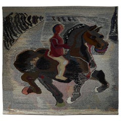 Tapestry Horse & Rider Designed and Woven by Sten Kauppi, Sweden, 1979