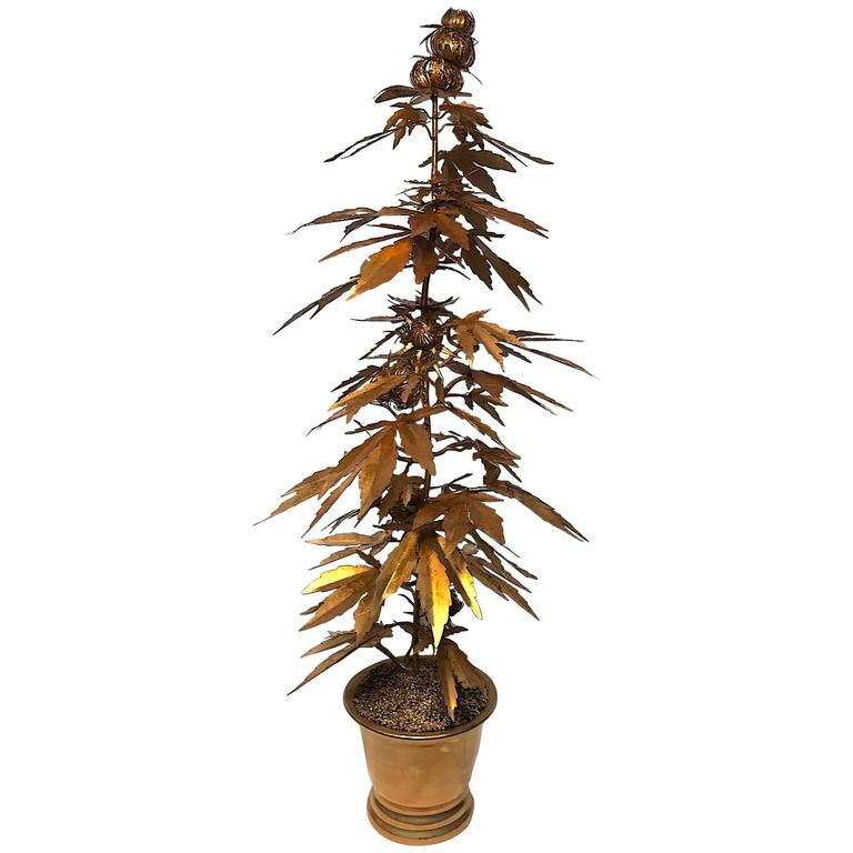Very Tall Gilded Toll Marijuana or Cannabis Potted Plant 1