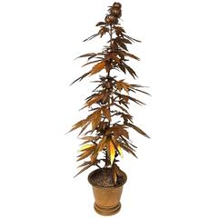 Very Tall Gilded Toll Marijuana or Cannabis Potted Plant