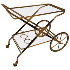 Italian Mid-Century Brass and Glass Bar Cart