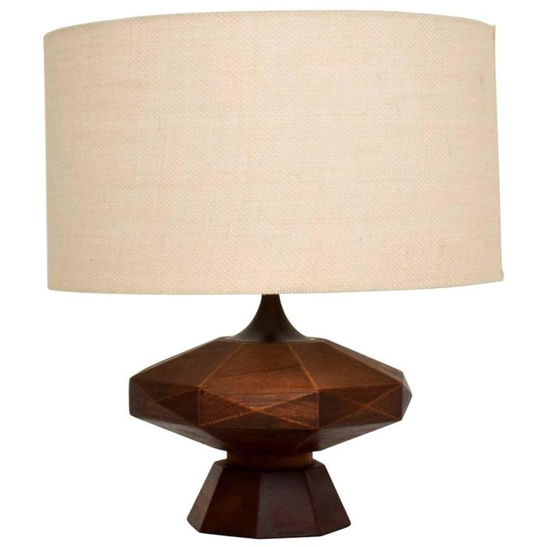 Mexican Modernist Mahogany Table Lamp 1