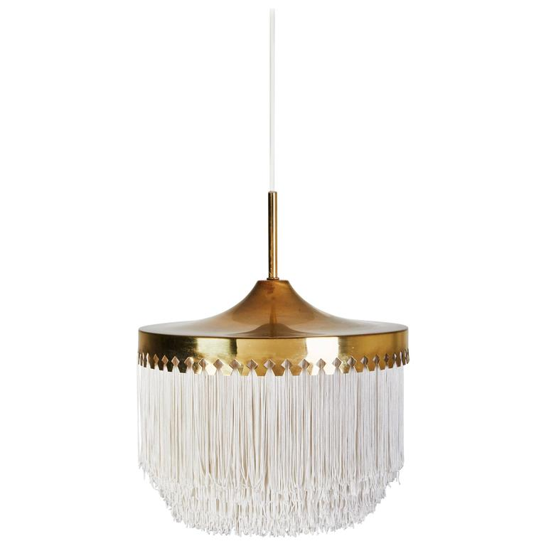 Brass and Silk Cord Pendant by Hans-Agne Jakobsson for Markaryd For Sale