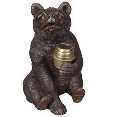 19th Century Carved Black Forest Bear Lidded Jar